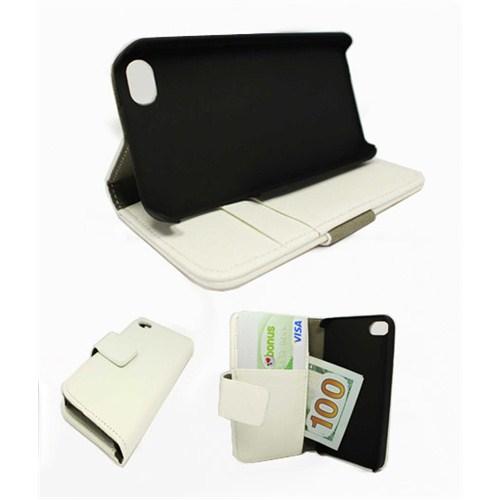 Microsonic Cüzdanlı Standlı Deri Kılıf - İphone 4S Beyaz