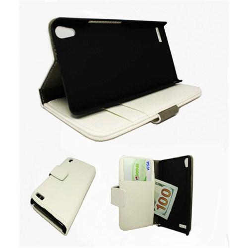 Microsonic Cüzdanlı Standlı Deri Kılıf - Huawei Ascend P6 Beyaz