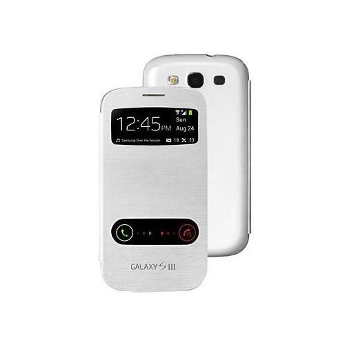 Microsonic Double View Delux Kapaklı Kılıf Samsung Galaxy S3 İ9300 Beyaz