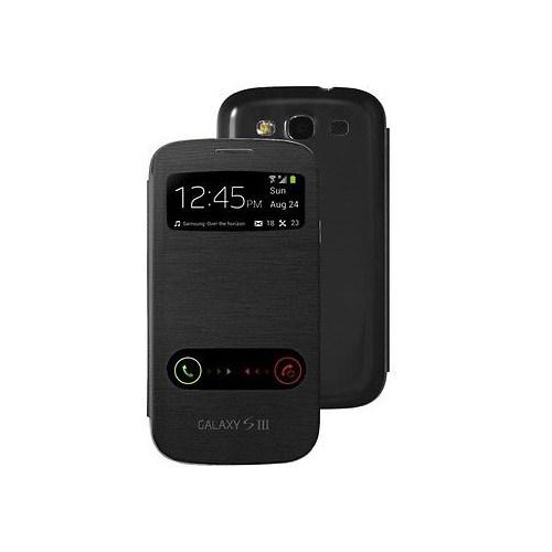 Microsonic Double View Delux Kapaklı Kılıf Samsung Galaxy S3 İ9300 Siyah