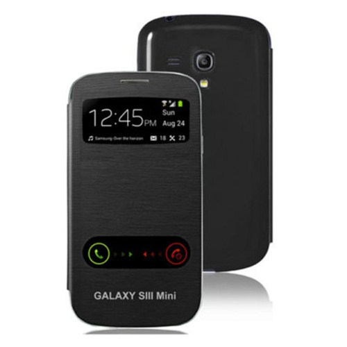 Microsonic Double View Delux Kapaklı Kılıf Samsung Galaxy S3 Mini İ8190 Siyah