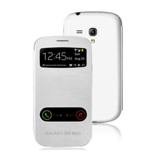 Microsonic Double View Delux Kapaklı Kılıf Samsung Galaxy S3 Mini İ8190 Beyaz