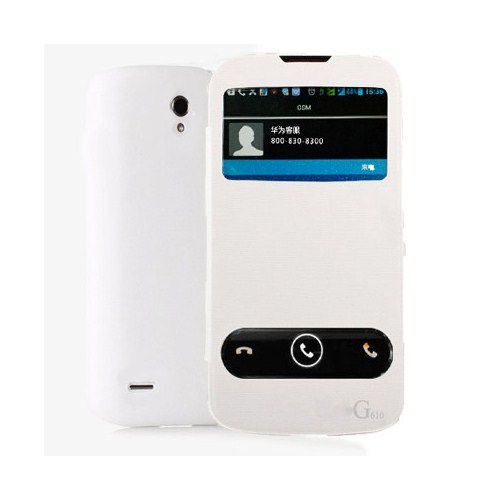Microsonic Double View Delux Kapaklı Kılıf Huawei Ascend G610 Beyaz