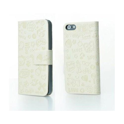 Microsonic Cute Desenli Deri Kılıf İphone 5C Beyaz