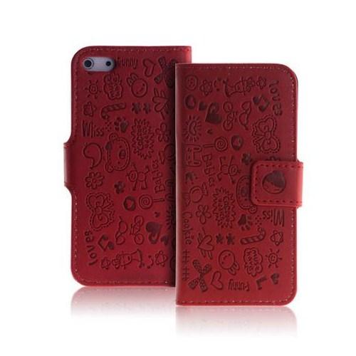 Microsonic Cute Desenli Deri Kılıf İphone 5 & 5S Kırmızı