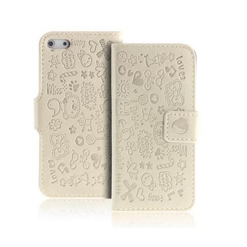 Microsonic Cute Desenli Deri Kılıf İphone 5 5S Beyaz