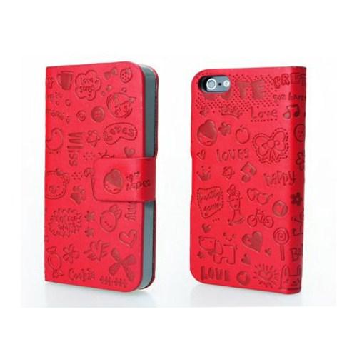 Microsonic Cute Desenli Deri Kılıf İphone 4S Kırmızı