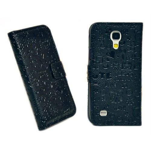 Microsonic Cute Desenli Deri Kılıf Samsung Galaxy S4 Mini İ9190 Siyah