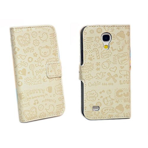 Microsonic Cute Desenli Deri Kılıf Samsung Galaxy S4 Mini İ9190 Beyaz