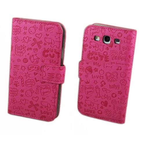 Microsonic Cute Desenli Deri Kılıf Samsung Galaxy S3 İ9300 Pembe