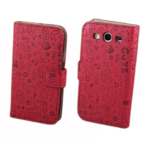 Microsonic Cute Desenli Deri Kılıf Samsung Galaxy S3 İ9300 Kırmızı
