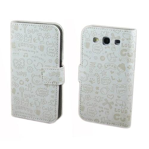 Microsonic Cute Desenli Deri Kılıf Samsung Galaxy S3 İ9300 Beyaz