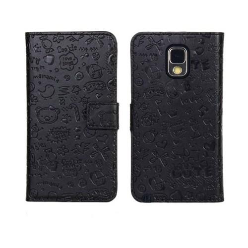 Microsonic Cute Desenli Deri Kılıf Samsung Galaxy Note 3 N9000 Siyah