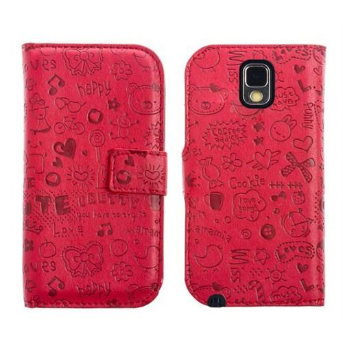 Microsonic Cute Desenli Deri Kılıf Samsung Galaxy Note 3 N9000 Kırmızı