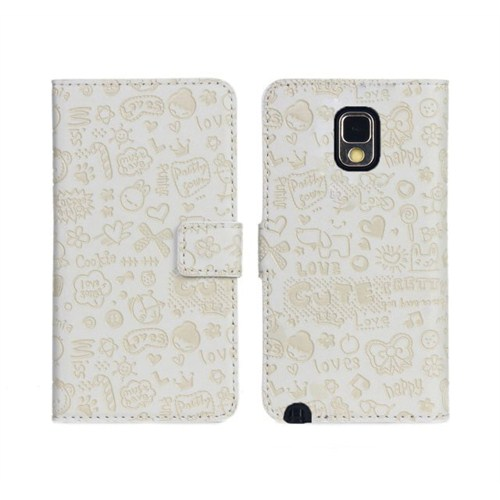 Microsonic Cute Desenli Deri Kılıf Samsung Galaxy Note 3 N9000 Beyaz