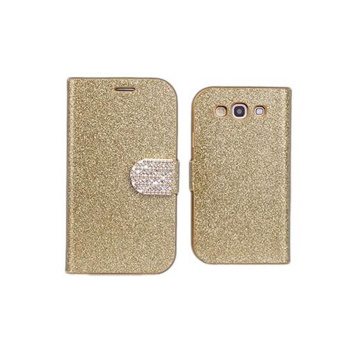 Microsonic Pearl Simli Taşlı Deri Kılıf - Samsung Galaxy S3 İ9300 Sarı