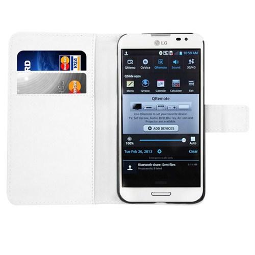 Microsonic Cüzdanlı Deri Kılıf - Lg Optimus G Pro - Beyaz