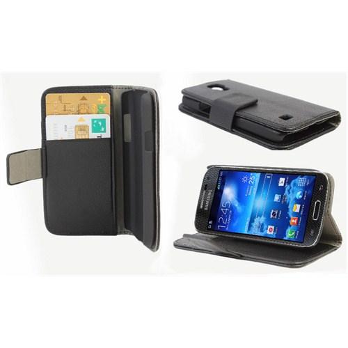 Microsonic Cüzdanlı Standlı Deri Kılıf - Samsung Galaxy S4 Mini İ9190 Siyah