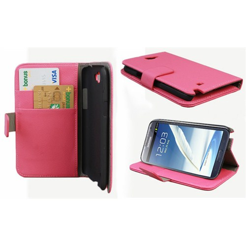 Microsonic Cüzdanlı Standlı Deri Kılıf - Samsung Galaxy Note2 N7100 Pembe