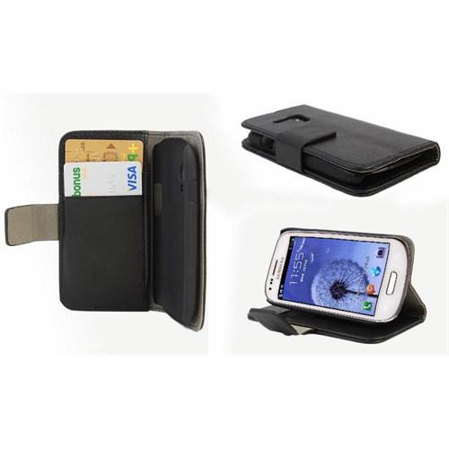 Microsonic Cüzdanlı Standlı Deri Kılıf - Samsung Galaxy S3 Mini İ8190 Siyah