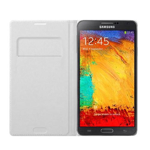 Microsonic Delux Kapaklı Kılıf Samsung Galaxy Note3 N9000 Beyaz