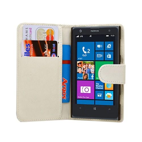 Microsonic Cüzdanlı Deri Kılıf - Nokia Lumia 1020 Beyaz