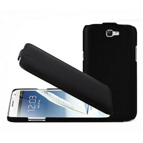 Microsonic Flip Leather Carbon Fiber Kaplama Deri Kılıf - Samsung Galaxy Note N7000 Siyah