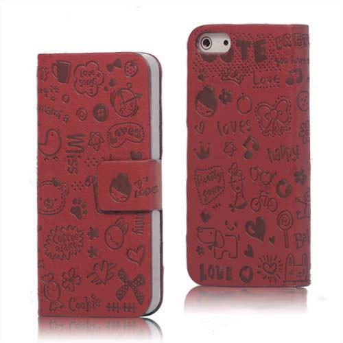 Microsonic İphone 5 & 5S Mini Figürlü Deri Kılıf Kırmızı