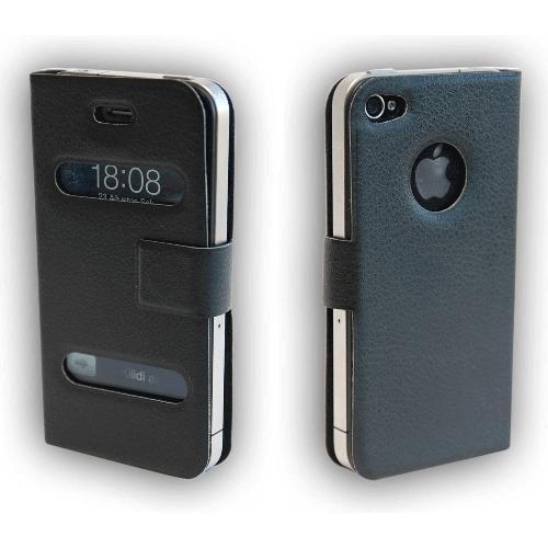 Microsonic İphone 4 Ultra Slim Smart Case Deri Kılıf Siyah
