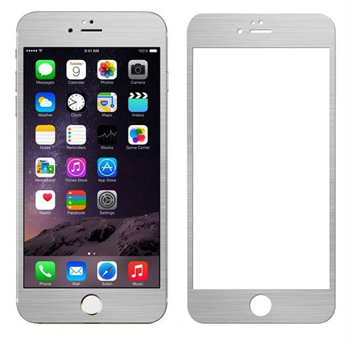 Case 4U Apple iPhone 5/5s Alüminyum Metal Kenarlı Cam Ekran Koruyucu-Gümüş