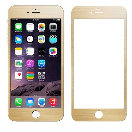 Case 4U Apple iPhone 6 Alüminyum Metal Kenarlı Cam Ekran Koruyucu-Altın