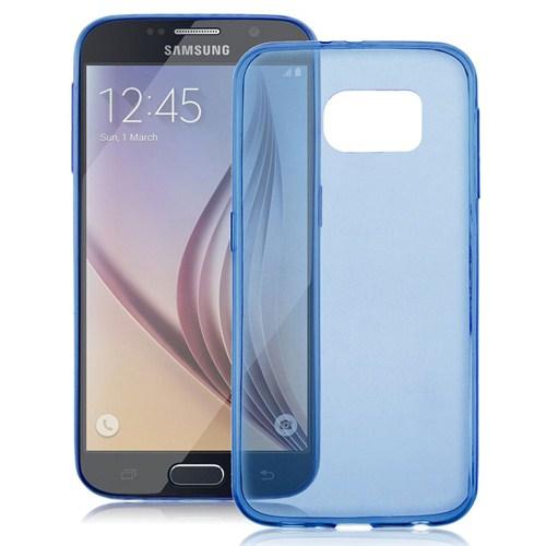 Case 4U Samsung Galaxy S6 Edge Ultra İnce Mavi Silikon Kılıf