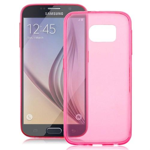Case 4U Samsung Galaxy S6 Edge Ultra İnce Pembe Silikon Kılıf