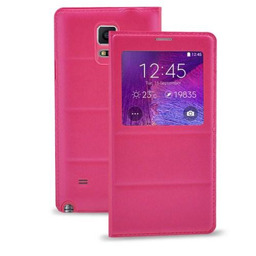 Case 4U Samsung Galaxy Note 4 Kılıf Pencereli Flip Cover Pembe