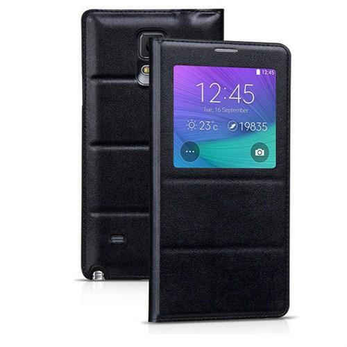 Case 4U Samsung Galaxy Note 4 Kılıf Pencereli Flip Cover Siyah