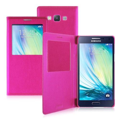 Case 4U Samsung Galaxy A7 Pencereli Flip Cover Kılıf Pembe