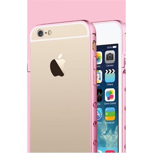 Qapak iPhone 6 Totudesign Bumper Metal Koruma Taşlı Kapak Pembe uz244434009323