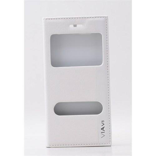 Qapak Casper Via V8 Vantuzlu Pencereli Beyaz Suni Deri Kılıf uz244434009665
