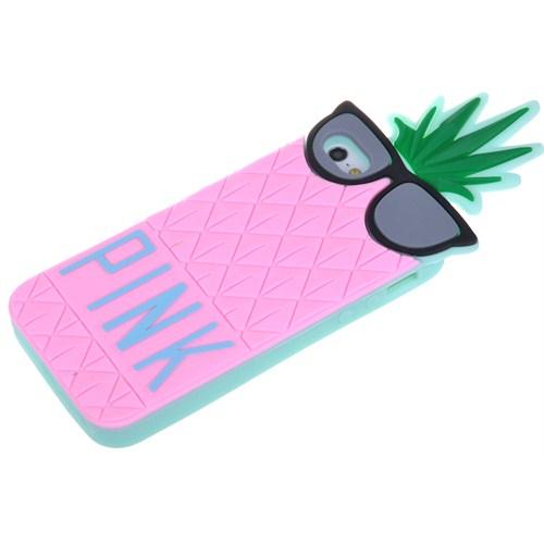 Qapak Apple iPhone 6 Pink Ananas Silikon Kapak Pembe uz244434009686