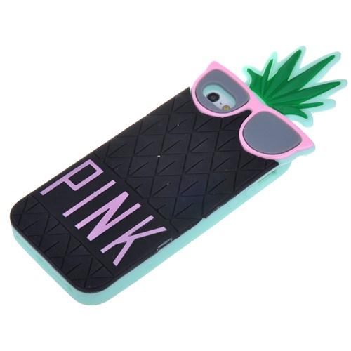 Qapak Apple iPhone 6 Pink Ananas Silikon Kapak Siyah uz244434009685