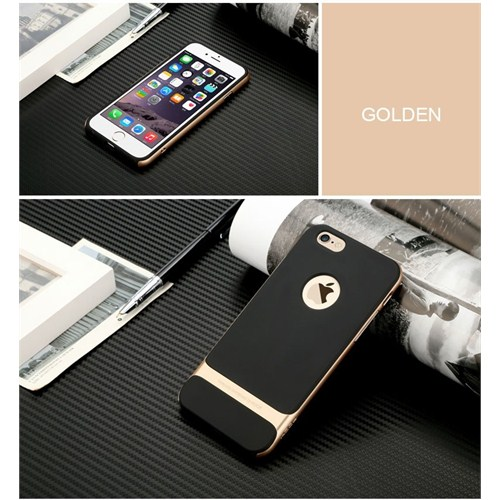 Qapak iPhone 6 Plus Rock Gold Metal Kenarlı Siyah Silikon Kapak uz244434009696