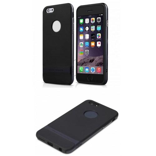 Qapak iPhone 6 Plus Rock Siyah Metal Kenarlı Siyah Silikon Kapak uz244434009697