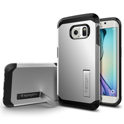 Spigen Samsung Galaxy S6 Edge Kılıf Tough Armor (Darbelere Karşı Tam Koruma) Satin Silver - 11432