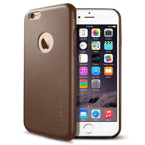Spigen Sgp Apple iPhone 6 Kılıf Leather Fit Serisi Gerçek Deri Olive Brown - SGP11356