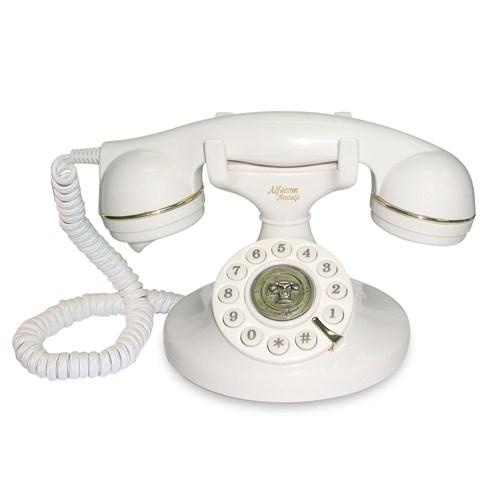 Alfacom Nostalji Masa Telefonu - Beyaz