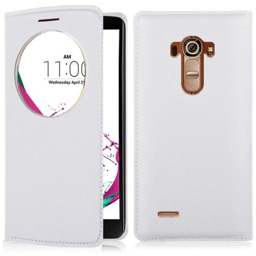 Microsonic Circle View Slim Suni Deri LG G4 Akıllı Kılıf Beyaz - CS150-CV-SLIM-LG-G4-BYZ