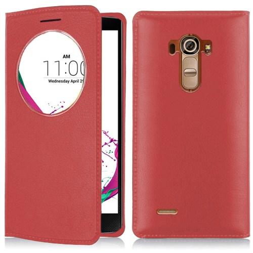 Microsonic Circle View Slim Suni Deri LG G4 Akıllı Kılıf Kırmızı - CS150-CV-SLIM-LG-G4-KRZ