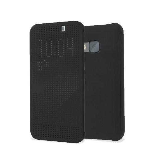 Microsonic View Cover Dot Delux Kapaklı HTC One M9 Akıllı Modlu Kılıf Siyah