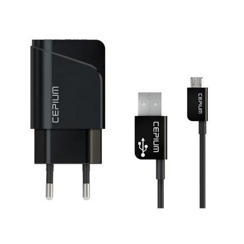 Cepium 2.1 Ev Şarj Cihazı ve Mikro USB Kablo-Siyah - TR-1453/2_S