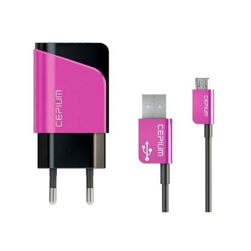 Cepium 2.1 Ev Şarj Cihazı ve Mikro USB Kablo-Pembe - TR-1453/2_P